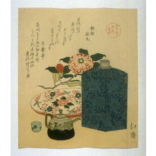 柳々居辰斎: Peony, Sake Bottle, Tray, Teapot and Cup - Legion of Honor