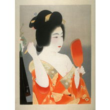 Insho Domoto: Lady with Red Lacquer Mirror Fixing Her Hair - Legion of Honor
