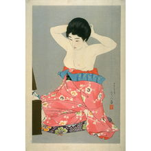 Torii Kotondo: Woman Kneeling before a Mirror Stand - Legion of Honor