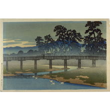 川瀬巴水: Bridge over the Asano (?) River - Legion of Honor