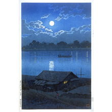 川瀬巴水: Moon over the Ara River at Akabane - Legion of Honor