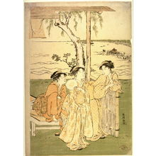 Katsukawa Shuncho: Three Women at a Teahouse near Takanawa, panel of a polyptych illustrating a summer festival - Legion of Honor