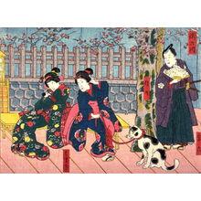 歌川国貞: The Takino River (Takinogawa)with the Actors Miyaroku, Shinno, Hamaji from an untitled series of half-block scenes from kabuki plays - Legion of Honor
