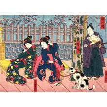Utagawa Kunisada: The Takino River (Takinogawa)with the Actors Miyaroku, Shinno, Hamaji from an untitled series of half-block scenes from kabuki plays - Legion of Honor