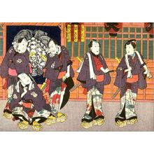 歌川国貞: Actors as the Five Otokodata: Karigane Bunshichi, Gokuin Seriemon, Kaminari Shokuro, Hotei Ichiemon, An no Heibei from an untitled series of half-block scenes from kabuki plays - Legion of Honor