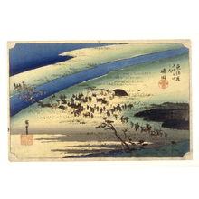 歌川広重: The Suruga bank of the Oi River near Shimada (Shimada oigawa sungan), no. 24 from the series Fifty-three Stations of the Tokaido (Tokaido gosantsugi no uchi) - Legion of Honor