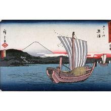 歌川広重: Kiyomigaseki and Seikon Temple near Okitsu (Okitsu kiyomigaseki seigenji), no. 18 from the series Fifty-three Stations of the Tokaido (Tokaido gojusantsugi) - Legion of Honor