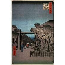 歌川広重: Dawn in the Yoshiwara (Licensed Quarters) (Kakuchu toun), no. 38 from the series One Hundred Views of Famous Places in Edo (Meisho edo hyakkei) - Legion of Honor
