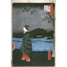 歌川広重: Night View of Matsuchi Hill and the Sanya Canal (Matsuchiyama Sanyabori yakei), no. 34 from the series One Hundred Views of Famous Places in Edo (Meisho Edo hyakkei) - Legion of Honor