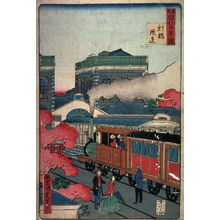 Utagawa Kunisada III: The Railway Station at Shimbashi (Shimbashi tetsudo)from the series Famous Places in Modern Tokyo (Tokyo kaika meikei kurabe) - Legion of Honor