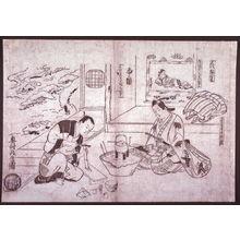 Okumura Masanobu: Shakuhachi Splitting a Flute for Firewood (Shakuhachi hachinoki), a parody of the noh play Hachinoku,from an untitled series of parodies of historical and literary subjects - Legion of Honor
