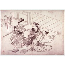 Hasegawa Mitsunobu: Couple Struggling over a Wine Cup, from an untitled series of scenes from daily life - Legion of Honor