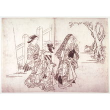 Hasegawa Mitsunobu: Three Women Leaving a Shrine, page from an untitled series of scenes from daily life - Legion of Honor