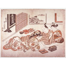 奥村政信: Young Man Relaxing with a Courtesan and a Male Lover, frontispiece from the shunga album Models of the Boudoir (Neya-no-hinagata) - Legion of Honor