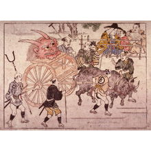 Hishikawa Moronobu: Pulling the Devil's Head into Kyoto on an Ox Cart, number 18 from an untitled series of illustrations of the legend of Shutendoji - Legion of Honor