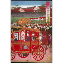 Watanabe Nobukazu: The Imperial Phoenix Carriage Leaves the Palace for the Military Revew at Aoyama (Nishinomaru tenkyo yori aoyama kampeishiki e hoosha goko no zu), right panel of a triptych - Legion of Honor