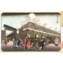 歌川広重: Cherry Blossoms at Night at Nakanoch? in the Yoshiwara (Yoshiwara Nakanoch? yozakura), from the series Famous Places in the Eastern Capital (T?to meisho) - Legion of Honor