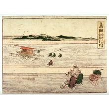 葛飾北斎: Shimada, no. 24 from an untitled Tokaido series (reissue of Hokusai's Tokaido series for poetry circle of Okazaki) - Legion of Honor