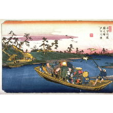 Keisai Eisen: The Ferry on the Toda River near Warabi, Station 3 on the Kisokaido (Warabi no eki todagawa watashi), from the series Sixty-nine Stations of the Kisokaido (Kisoji no eki) - Legion of Honor