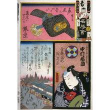 Utagawa Kunisada: Nakamura Fukusuke as Kinkanamono no Jingaro in Group 2. No. Mo. Ginza, from the series The Flowers of Edo Matched with Famous Places (Edo no hana meisho awase), from a collaborative harimaze series - Legion of Honor