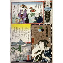 歌川国貞: Iwai Shijaku as the Hairdesser Bunshichi,Geisha Admiring Peony, Plant Vendors in Group 2, No. Hyaku. Yakushi, Kayabacho from the series The Flowers of Edo Matched with Famous Places (Edo no hana meisho awase), from a collaborative harimaze series - Legion of Honor