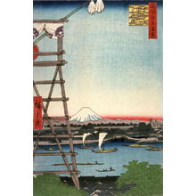 Utagawa Hiroshige: The Ekoin at Ryogoku and Motoyanagi Bridge (Ryogoku ekoin motoyanagibashi), no. 53 from the series One Hundred Views of Famous Places in Edo (Meisho edo hyakkei) - Legion of Honor