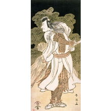 勝川春英: Ichikawa Komazo II as a Warrior (looking to the left), from a night triptych - Legion of Honor