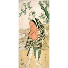 勝川春英: Bando Hikosaburo V as a Young Man by a Stream, panel of a polyptych - Legion of Honor