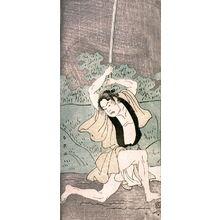 勝川春英: Otani Tomoemon as a Man Duelling in a Muddy fFeld - Legion of Honor