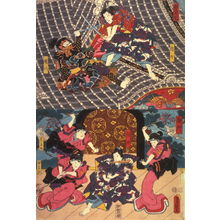 歌川国貞: Actors as Shinno, Gempachi, Kobae(?), Haruno, and Yayoi in scenes from the Horyu Tower and the Palace(Horyukaku, Gosho),from an untitled series of half-block scenes from kabuki plays - Legion of Honor