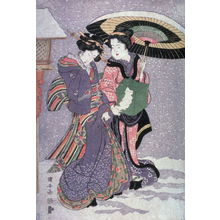 歌川国安: Geisha and attendant walking in snow - Legion of Honor