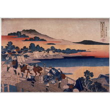 Katsushika Hokusai: Bridge at Fukui in Echizen Province( Echizen fukui no hashi), from the series Unusual Views of Famous Bridges in the Provinces (Shokoku meikyo kiran) - Legion of Honor