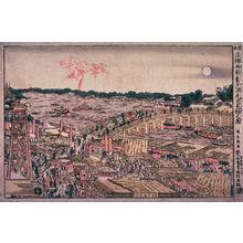Katsushika Hokusai: Watching Fireworks on a Cool Summer Evening at Ryogoku Bridge (Ryogokubashi yusuzumi hanabi kembutsu no zu) from the series New Perspective Pictures (Shimpan ukie) - Legion of Honor