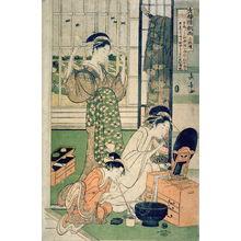 長喜: Two Courtesans and a Maid) , right panel from the triptych, Rain after Parting at the Yoshiwara (Seiro kinuginu no ame sammaitsuzuki) - Legion of Honor