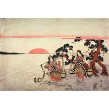 Kikugawa Eizan: Matsukaze and Murasame Gathering Brine at Dawn on the Beach at Akashi - Legion of Honor