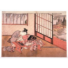 Isoda Kory?sai: Man on Veranda Spying on Couple at Writing Table from an untitled album of erotic subjects - Legion of Honor