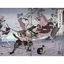 Watanabe Nobukazu: Shigemori and Yoshihira Battling outside the Shishinden Palace, two panels of a triptych - Legion of Honor