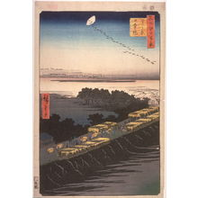 歌川広重: Nihon Embankment and the Yoshiwara (Yoshiwara nihonzutsumi), no. 100 in the series One Hundred Views of Famous Places in Edo (Meisho edo hyakkei) - Legion of Honor