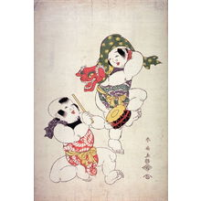 勝川春扇: Two Children Performing a Lion Dance with Mask and Drum - Legion of Honor