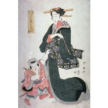 Katsukawa Shunsen: Mother and Child with a Toy Gun(?), from Act 6 of the series Children in Parodies of Acts of the Chushingura (MIkato kodomo chushingura) - Legion of Honor