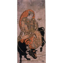 勝川春章: Matsumoto Koshiro IV s a Young Man Riding a Bull through Snow - Legion of Honor