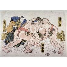 歌川国芳: The wrestlers Tsuneyama and Ioyama and the umpire Kimma Ichinoske - Legion of Honor