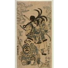 Torii Kiyomasu II: Nakamura Denkuro I as the Ghost of Tomomori, and Nakamura Mioermon as the Priest Benkei (Nakamura Denkuro Tomomori, Nakajima Mioermon Benkei) - Legion of Honor