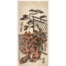 Torii Kiyomitsu: Yamashita Kinsaku and Ichikawa Kamezo as Ayama no Mae and Yorimasa (Yamashita Kinsaku Ayame no Mae, Ichimura Kamezo Yorimasa) - Legion of Honor