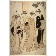 Torii Kiyonaga: Four women and a man at the entrance to a shrine - Legion of Honor