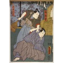歌川国貞: Actors as Fukuska Mitsugi and Honest Shodaju, panel of a polyptych - Legion of Honor