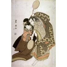 歌川豊国: Ichikawa Yaozo III and Nakayama Tomisaburo as an Old Man and a Young Woman Struggling Ovdr Two Mirroraa - Legion of Honor