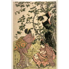 Utagawa Toyohiro: Women and Children by a Fruit Tree, left panel of a triptych of Fruit Gathering - Legion of Honor