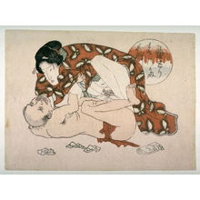 Utagawa School: Woman crouched on man - Legion of Honor