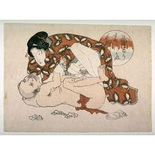 Utagawa School: Woman crouched on man - Legion of Honor